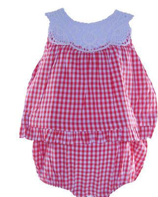 Baby Girl Gingham Cotton Romper