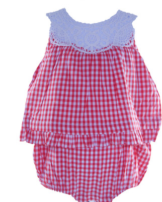 Baby Girl Gingham Cotton Romper