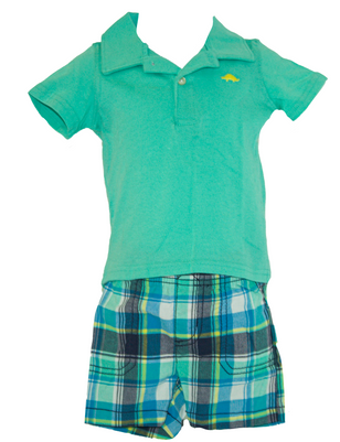 Baby boy 2-piece Green Polo  &  Plaid Short Set