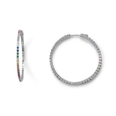 Rhodium Plated Multi Color CZ 40mm Click Hoop Earrings