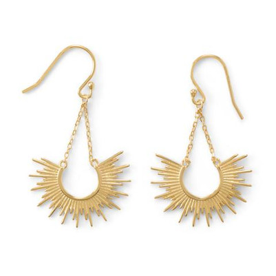 """Shine On!"" 14 Karat Gold Plated Sunburst Earrings"