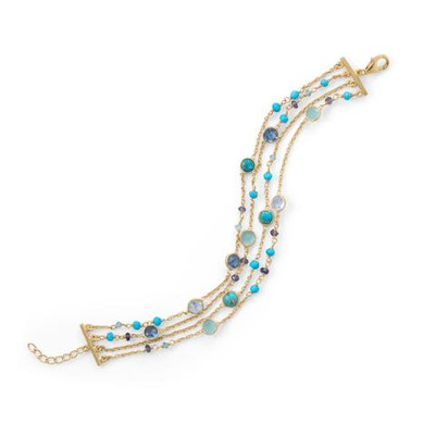 14 Karat Gold Plated Multi Stone Bracelet