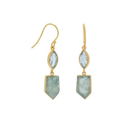 14 Karat Gold Plated Blue Topaz and Aquamarine Drop Earrings