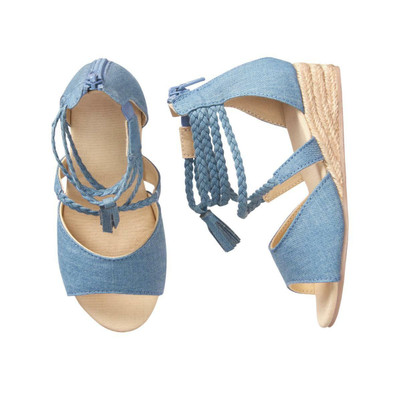 Big Girl Espadrille Wedge Sandals