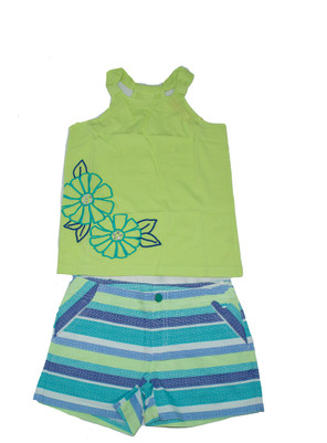 Big Girl Gem Flower Tank  & Stripe Short Set