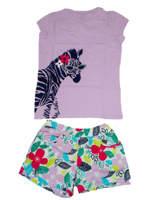 Big Girl Glitter Zebra Top  & Flower  Short Set
