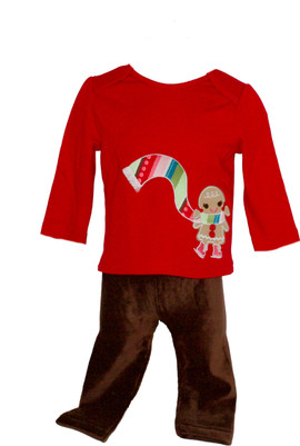 Baby Girl Gingerbread Shirt & Velour Leggings Set