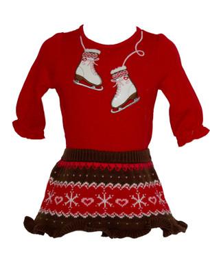 Baby Girl Ice Skate Tee & Sweater Skirt Set