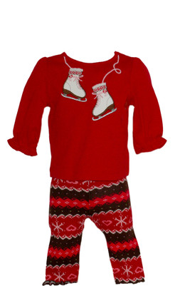 Baby Girl Ice Skate Tee & Snowflakes Leggings Set