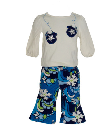 Baby Girl Gem Button Mitten Tee &  Velvet  Corduroy Pant Set