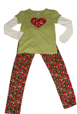 Big Girl Heart Tee & Flowers Legging  Set