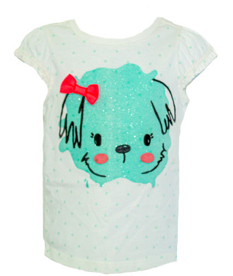 Toddler Girl Dot Sparkle Puppy Tee