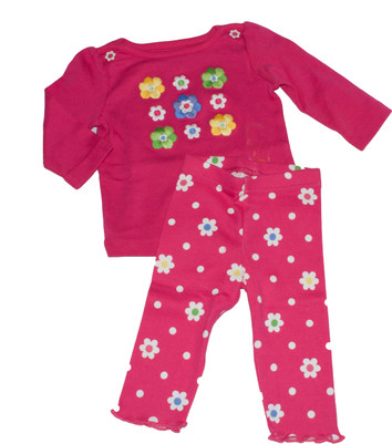 Baby Embroidered Flower Long  Sleeve Tee & Leggings Set