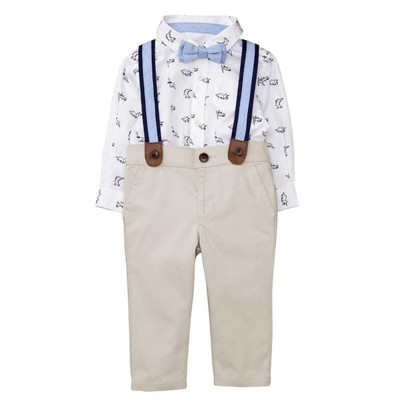 Baby Boy Dino Suspenders Set