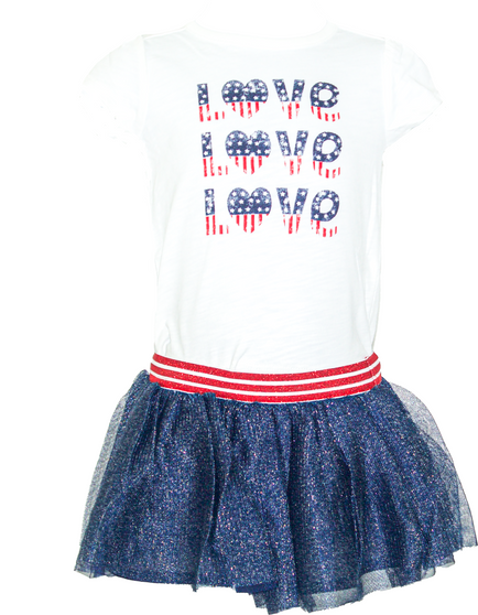 Baby Girl Sparkle Tutu Skirt & American Top