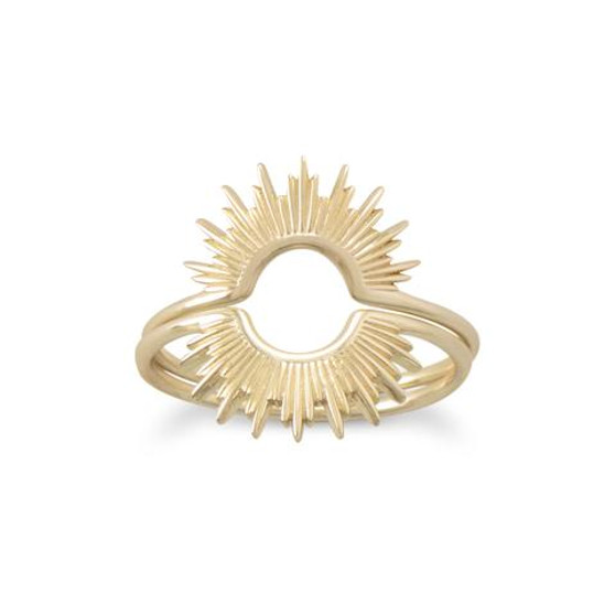 """Shine On!"" 14 Karat Gold Plated Sunburst Ring"