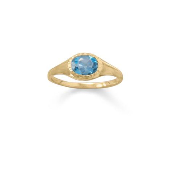 14 Karat Gold Plated Blue Topaz Ring