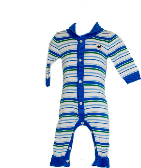 Baby Boy Striped Sweater One Piece Overall