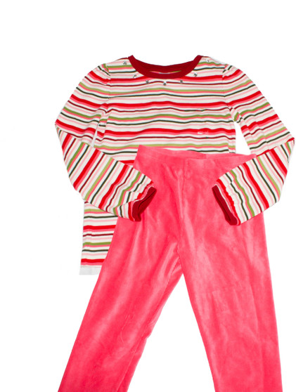 Big Girl Stripe Shirt & Velour Leggings  Set