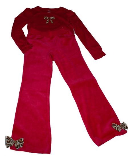 Big Girl Fuchsia Bow Tee and Pants Set