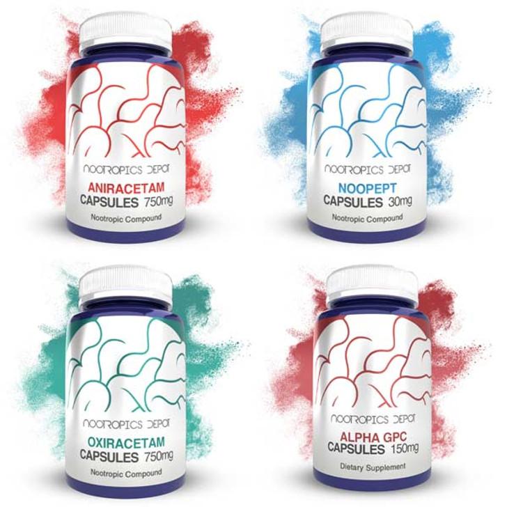 Basic Nootropic Capsules Sample Pack (15ct. Jars of Aniracetam, Noopept, Oxiracetam, Alpha-GPC)
