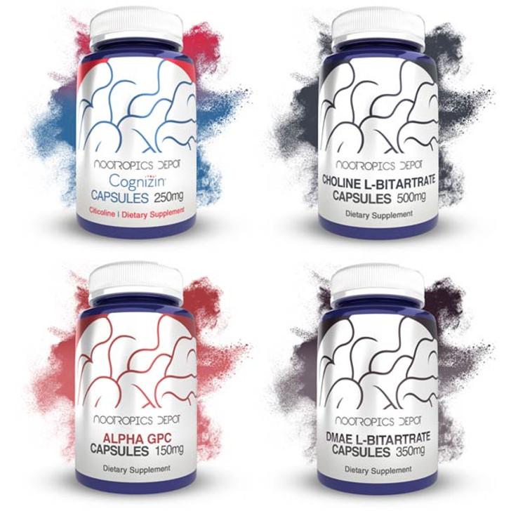Choline Capsules Sample Pack | Cognizin Citicoline, Alpha GPC, Choline L-Bitartrate, and DMAE L-Bitartrate