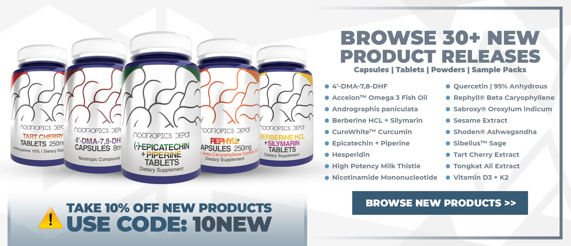Browse 30+ New Products From Nootropics Depot - Take 10% Off All New Products With Coupon Code 10NEW.