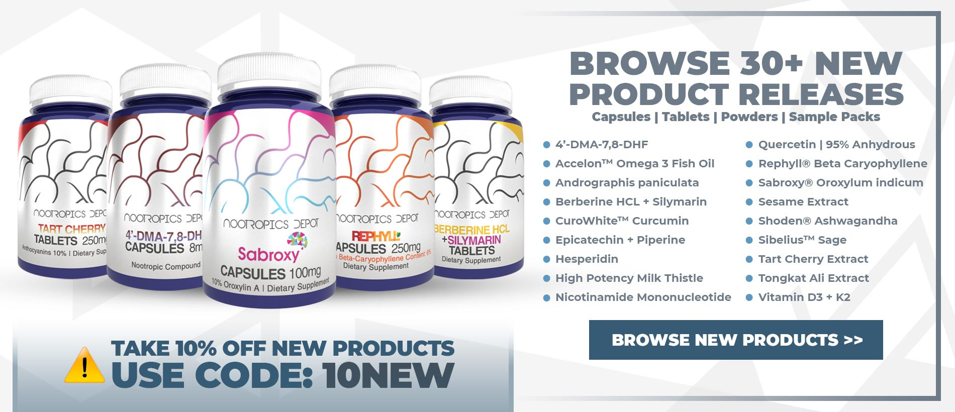 Browse 30+ New Products From Nootropics Depot - Take 10% Off All New Products With Coupon Code 10NEW
