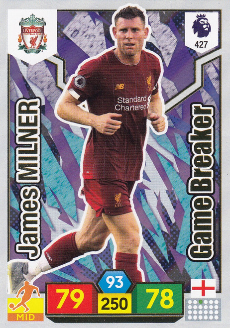 #427 James Milner (Liverpool) Adrenalyn XL Premier League 2019/20 GAME BREAKER