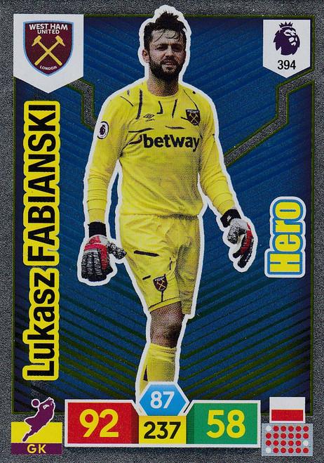 #394 Lukasz Fabianski (West Ham United) Adrenalyn XL Premier League 2019/20 HERO