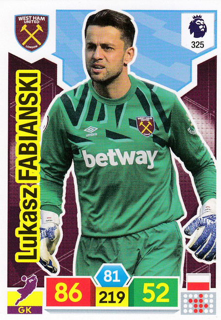 #325 Lukasz Fabianski (West Ham United) Adrenalyn XL Premier League 2019/20