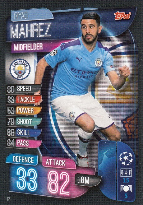 #12 Riyad Mahrez (Manchester City) Match Attax Champions League 2019/20