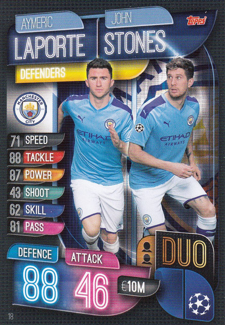 #18 Manchester City Duo Match Attax Champions League 2019/20