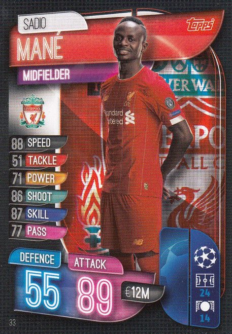 #33 Sadio Mane (Liverpool) Match Attax Champions League 2019/20