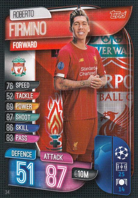#34 Roberto Firmino (Liverpool) Match Attax Champions League 2019/20