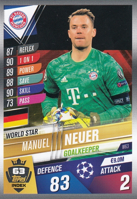 #W63 Manuel Neuer (FC Bayern Munchen) Match Attax 101 2019/20