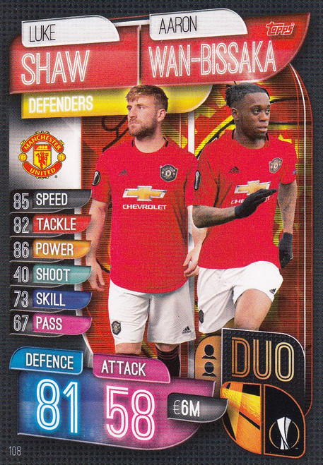 #108 Manchester United Duo Match Attax Champions League 2019/20