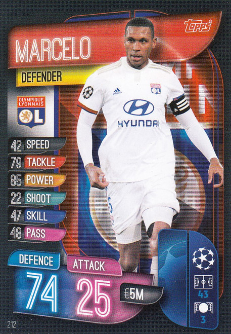 #212 Marcelo (Olympique Lyonnais) Match Attax Champions League 2019/20