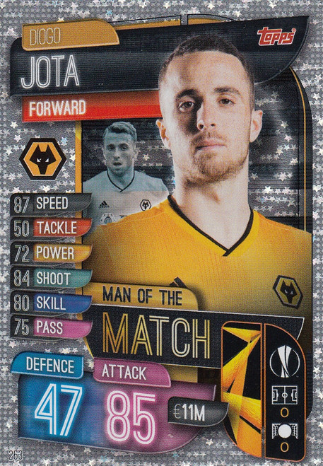 #263 Diogo Jota (Wolverhampton Wanderers) Match Attax Champions League 2019/20 MAN OF THE MATCH