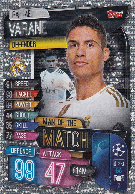 #265 Raphael Varane (Real Madrid CF) Match Attax Champions League 2019/20 MAN OF THE MATCH