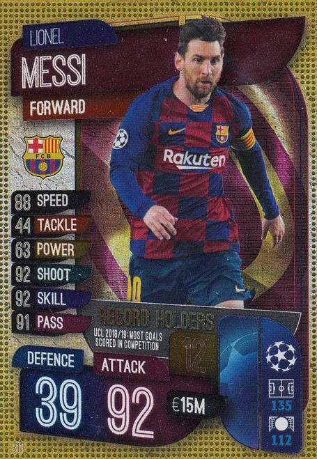 #311 Lionel Messi (FC Barcelona) Match Attax Champions League 2019/20 RECORD HOLDERS