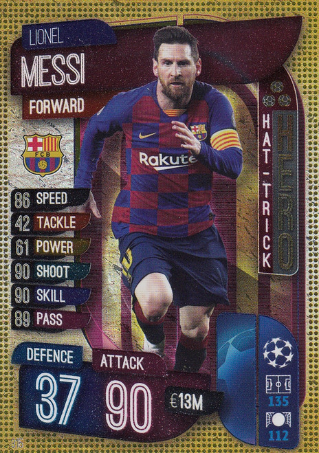 #315 Lionel Messi (FC Barcelona) Match Attax Champions League 2019/20 HAT-TRICK HEROES