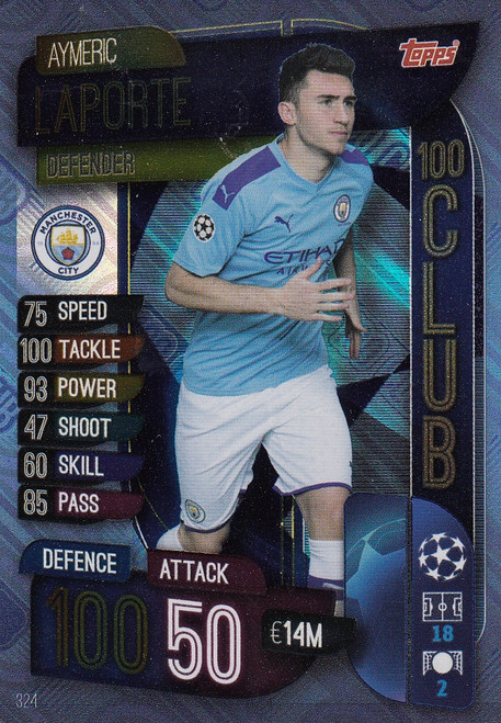 #324 Aymeric Laporte (Manchester City) Match Attax Champions League 2019/20 100 CLUB