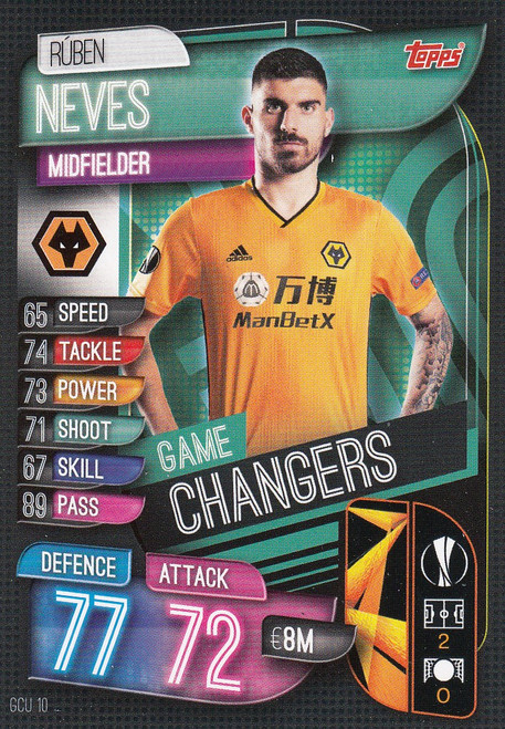 #GCU10 Ruben Neves (Wolverhampton Wanderers) Match Attax Champions League 2019/20 GAME CHANGERS