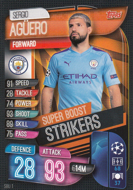 #SBU1 Sergio Aguero (Manchester City) Match Attax Champions League 2019/20 SUPER BOOST STRIKERS