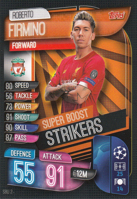 #SBU2 Roberto Firmino (Liverpool) Match Attax Champions League 2019/20 SUPER BOOST STRIKERS