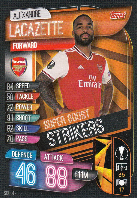 #SBU4 Alexandre Lacazette (Arsenal) Match Attax Champions League 2019/20 SUPER BOOST STRIKERS