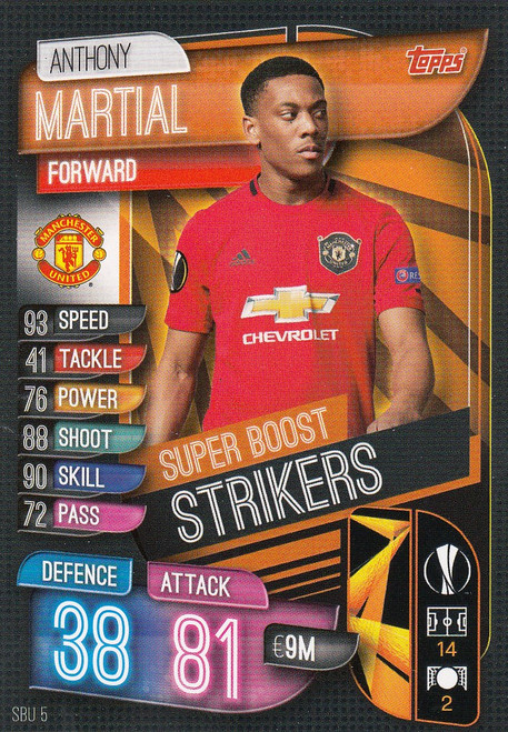 #SBU5 Anthony Martial (Manchester United) Match Attax Champions League 2019/20 SUPER BOOST STRIKERS