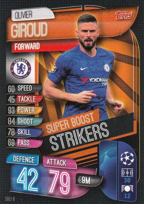 #SBU6 Olivier Giroud (Chelsea) Match Attax Champions League 2019/20 SUPER BOOST STRIKERS