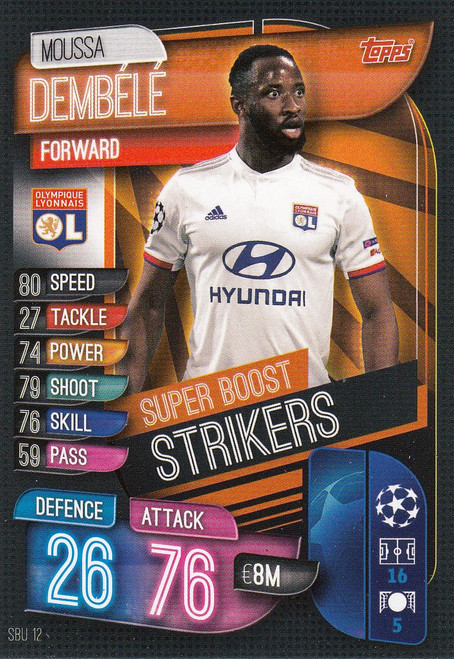 #SBU12 Moussa Dembele (Olympique Lyonnais) Match Attax Champions League 2019/20 SUPER BOOST STRIKERS